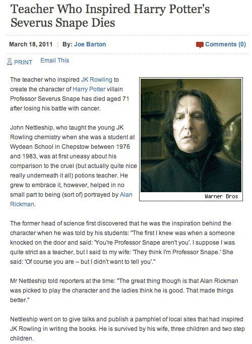 Teacher who inspired Severus Snape dies *raises wand*