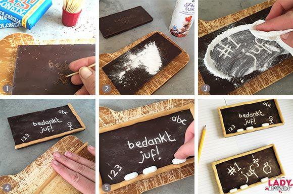 juf, meester, bedankje, bedanken, cadeau, tip, einde, schooljaar, afscheid, basisschool, kleuters, idee, tip, maken, zelf, diy, knutselen, kinderen, origineel, simpel, goedkoop, leuk, uniek, chocola, krijtbord, karamel, snoep, schoolbord, afscheidscadeau