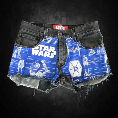 Star Wars Comic Geek Schematic Patc.. Good idea to cut up an old t-shirt with a design and put on shorts
