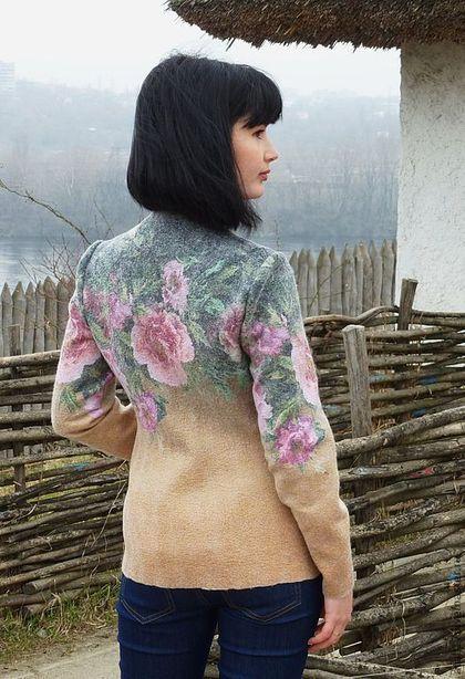 Купить Жакет Пионы- войлок - жакет валяный, жакет из войлока, валяная одежда, цветочный