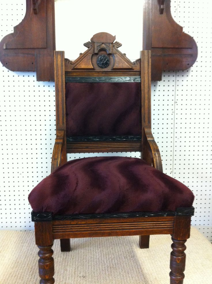 This is the now updated version of the chair. We also have a mirror that is renaissance style, so we refinished it to go with the chair. This would look fantastic in an entryway, or at the end of a hall.