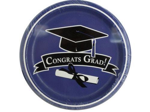 Congrats Grad Purple Plates Graduation Party Supplies (Wholesale Lot of 24)