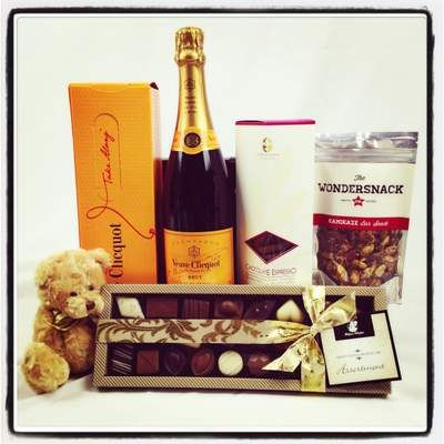 New parents to a brand new baby? We have it covered! Veuve Champagne, Belgium Chocolates, Wondersnack Kamikaze nuts, chocolate biscuits and a teddy for bubs! It's the perfect in hospital picnic! Click here to buy today $139.00 http://www.justcorporate.net.au/gifts/all-gifts/well-done-mum-dad/
