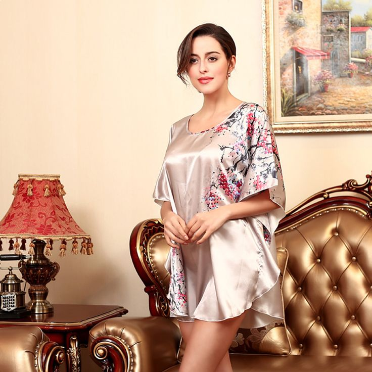 Floral Pattern Women Sleepshirts Fashion Loose Night Shirts Spring Summer  Autumn Faux Silk Nightgown Female Bathrobe