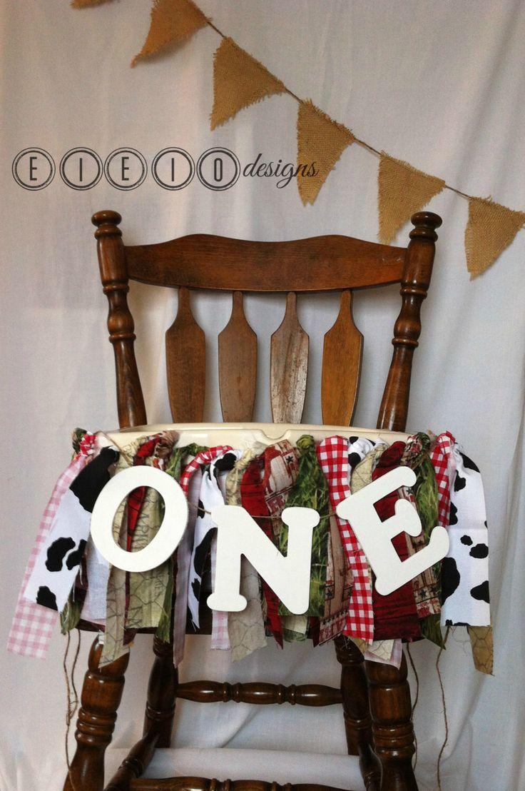FARM & TRACTOR birthday - barnyard - fabric high chair banner - country - cow print - John Deere - Case IH - barn - gingham - personalized - by eieiodesigns on Etsy https://www.etsy.com/listing/229110534/farm-tractor-birthday-barnyard-fabric