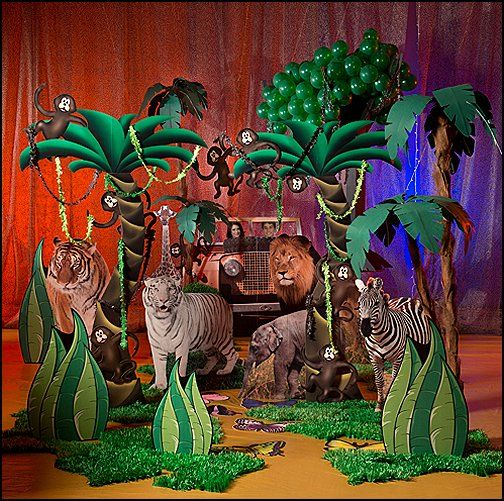 Safari theme party theme bedrooms maries manor jungle for Animal party decoration