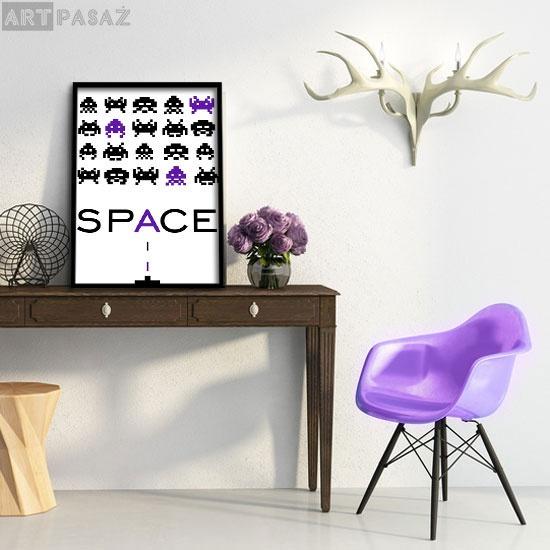 pixel aliens- fioletowy plakat