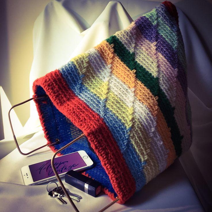 1990s Hand Knit  Rainbow Tote.