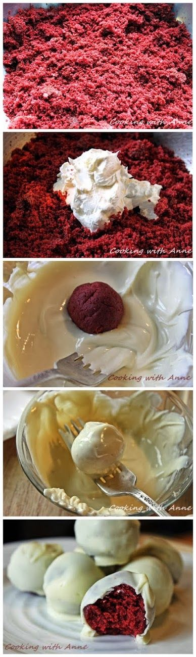 Red Velvet Truffles... Now these would make a wonderfully delectable holiday gift!  http://www.cookingwithanne.com/2013/05/red-velvet-truffles.html