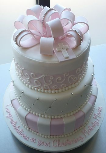 Melody's Pink Baptism Cake   Red velvet cake with cream chee…   Flickr