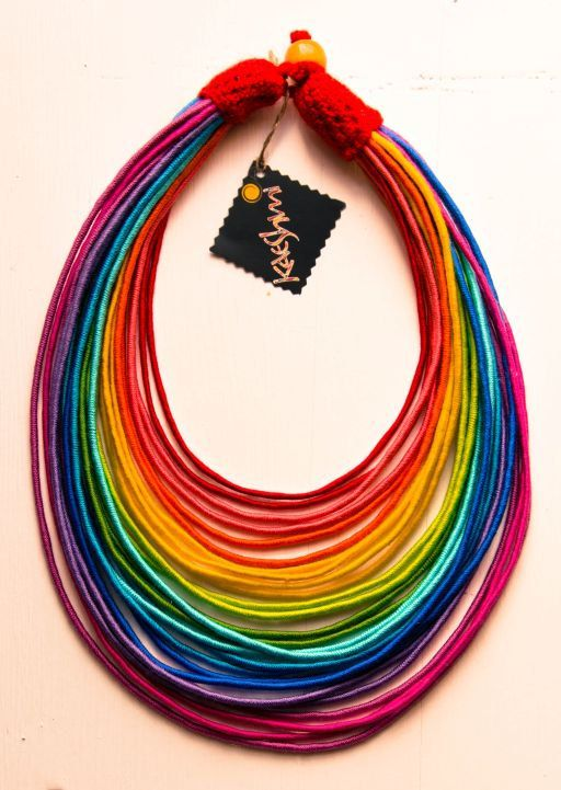 "RAINBOW - unique yarn ""Maasai"" necklace (ethnic, boho, eco, folk, hippie)"