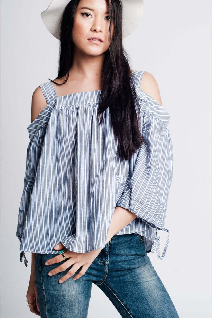 Open Shoulder Striped Top