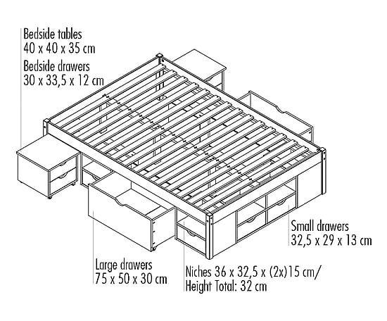 Struttura letto matr. in legno con comodino Till - 160x209x48 cm