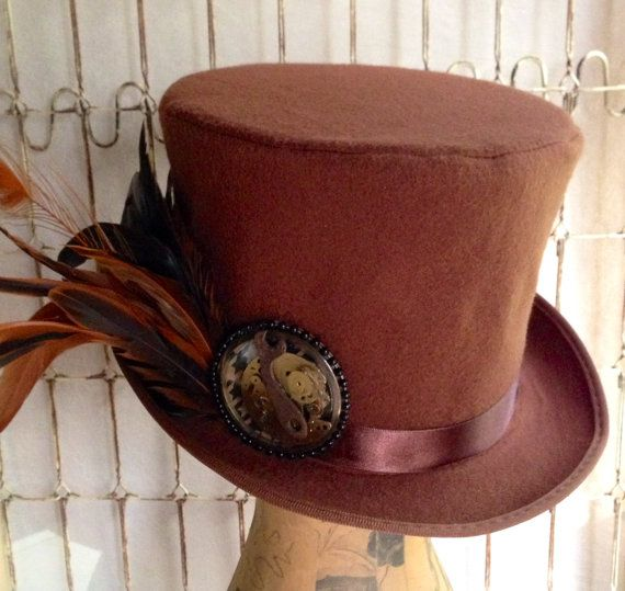 Mad Hatter Steampunk Top Hat Vintage Clock Parts
