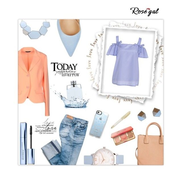 """""""Babyblue & peach"""" by jaystilo ❤ liked on Polyvore featuring Blue Les Copains, Olivia Burton, MANGO, Gianvito Rossi, Estée Lauder, Montblanc, Casetify and Kate Spade"""