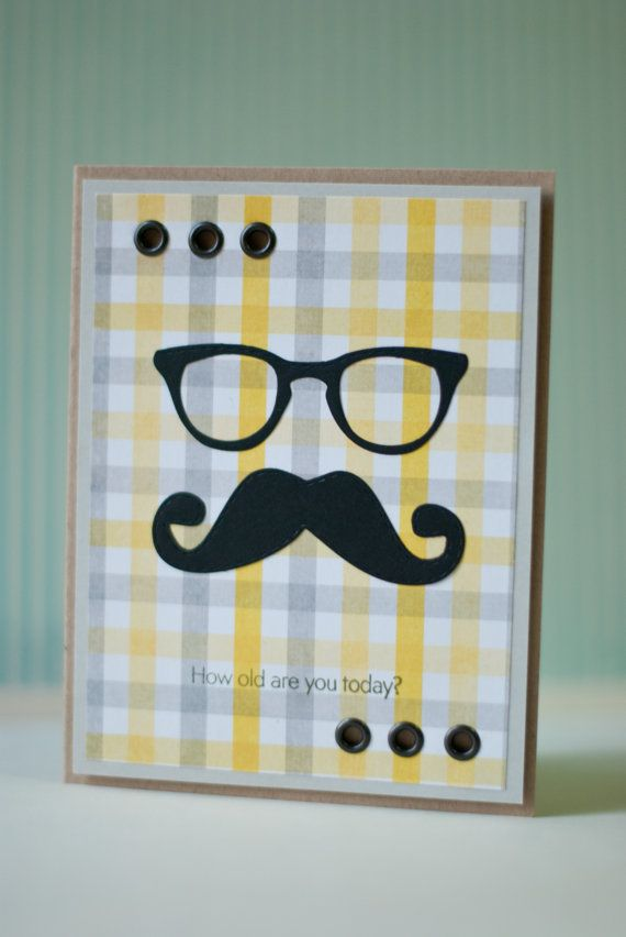Mustache card, card for him, birthday card