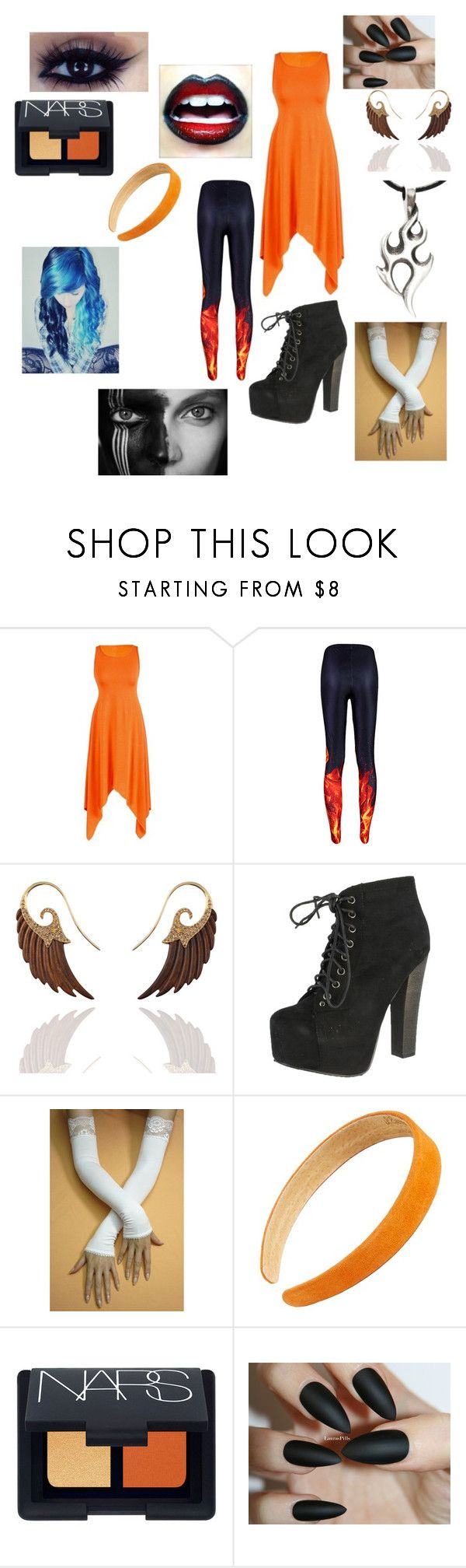 """""""The Phoenix"""" by ruescgj ❤ liked on Polyvore featuring Noor Fares, Breckelle's, Shirò, L. Erickson, NARS Cosmetics and vintage"""