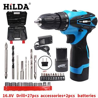 HILDA 16.8V Electric Screwdriver Battery2 Cordless Screwdriver Rechargeable Parafusadeira Furadeira Electric Drill Plastic case (32791131019)  SEE MORE  #SuperDeals