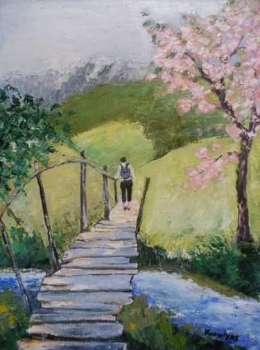 "Saatchi Art Artist Maria Karalyos; Painting, ""Footbridge to spring"" #art"