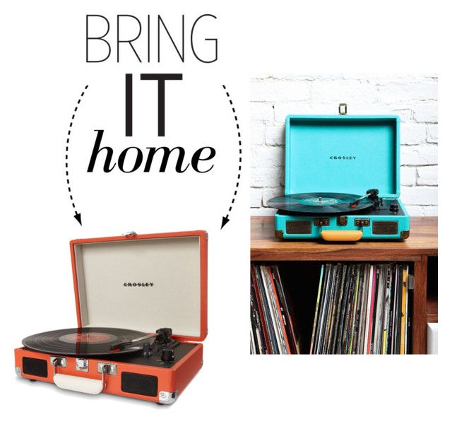 """""""Bring It Home: Dot & Bo Portable Record Player"""" by polyvore-editorial ❤ liked on Polyvore featuring interior, interiors, interior design, home, home decor, interior decorating, Dot & Bo, Crosley and bringithome"""
