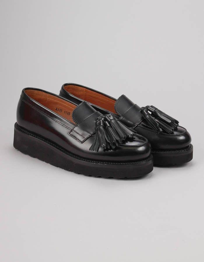 Grenson's High Shine Black Clara Tassel Loafer | Accent Clothing