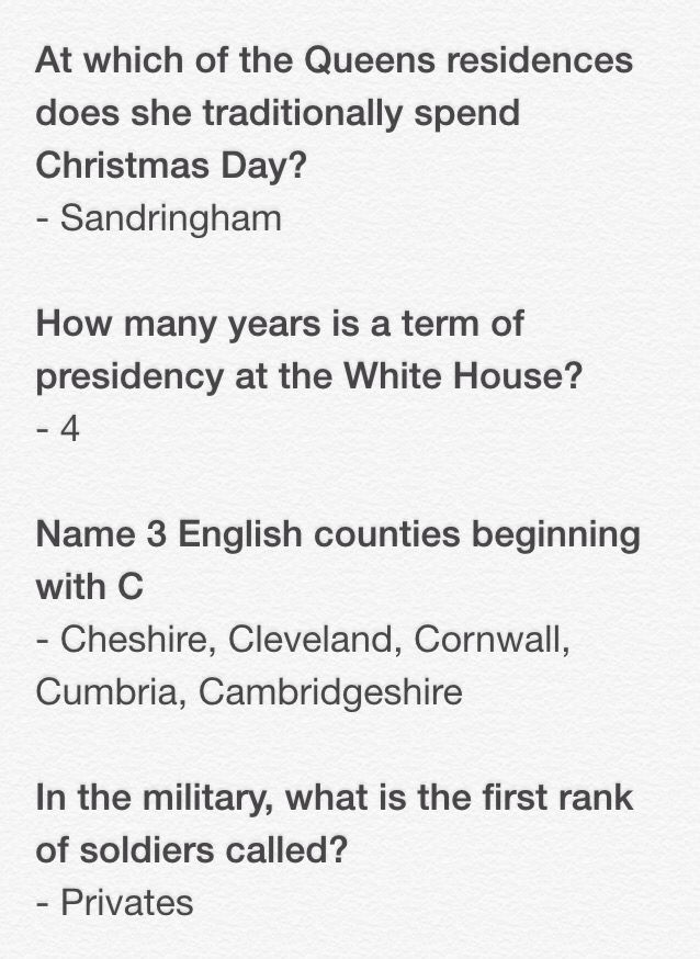 General Knowledge Quiz Q's and A's