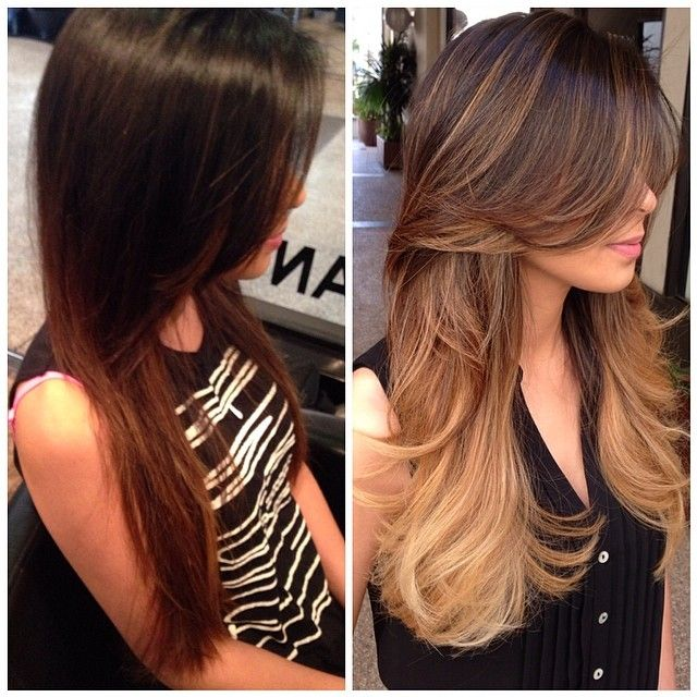 #beforeandafters ... Haircut, Full highlights, and ombré tipped the ends light blonde