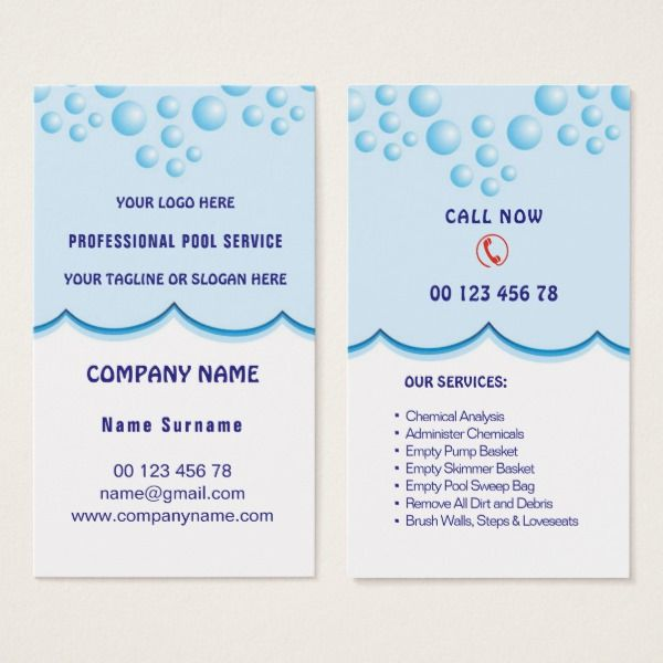 Pool service business card Custom office supplies #business #logo #branding