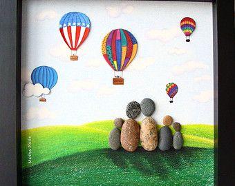 Pebble Art Family Unique Family Gift Custom Family by MedhaRode