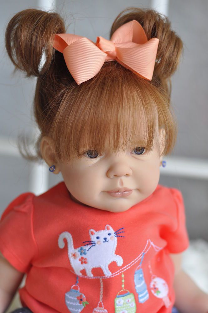 ~REBORN~Adorable~*Baby Girl~**~Aurburn Human Hair Dark Blue Eyes~Chloe~
