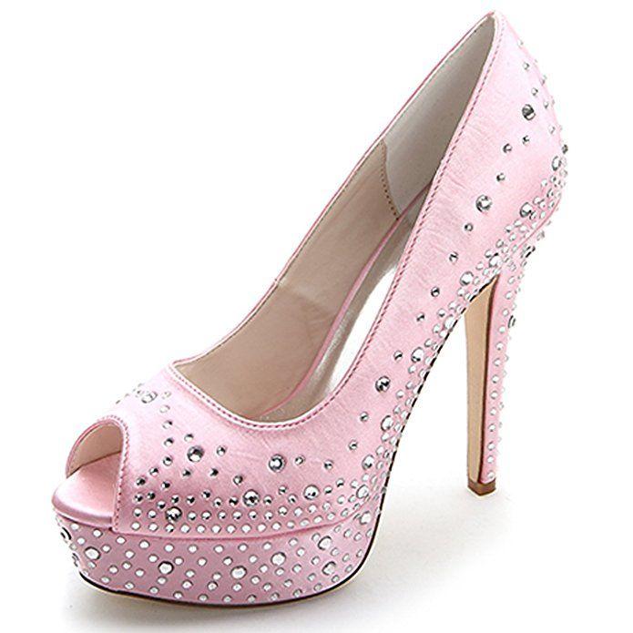 073b6e63c0d4df Elobaby Frauen Hochzeit Schuhe Strass Plattform Peep Toe Satin Lady 35-42  GrößE Zehe