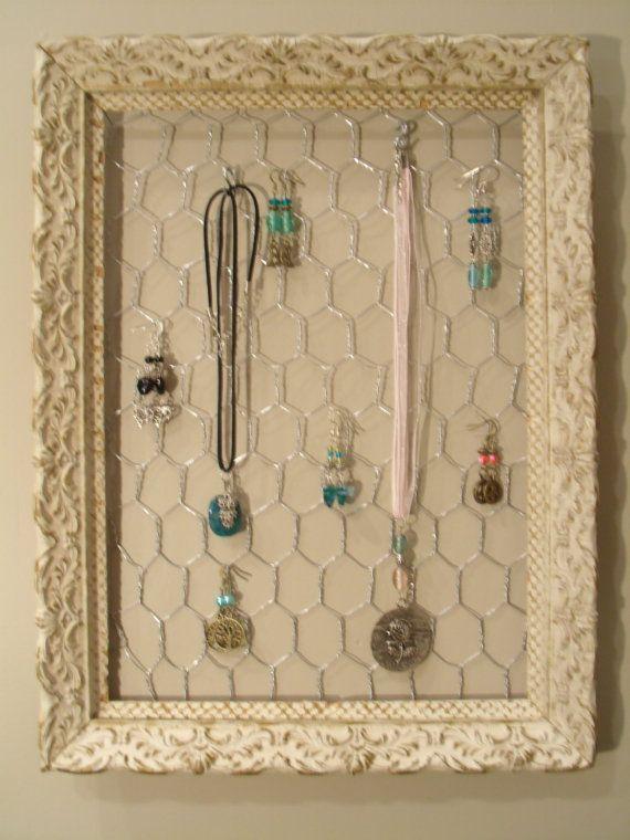 Antique Frame Jewelry Organizer - Display, Holder $48