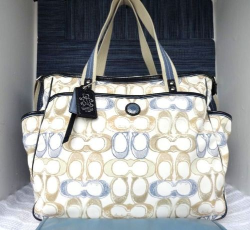 Coach Signature Op Art Baby XL Diaper Bag Tote 16971 BLUE WHITE ~IN ...