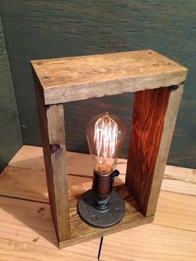 Edison lamp - bookshelf end/Table Desk lamp - Antiqued finished wood frame - Steam punk style light - New york loft industrial style