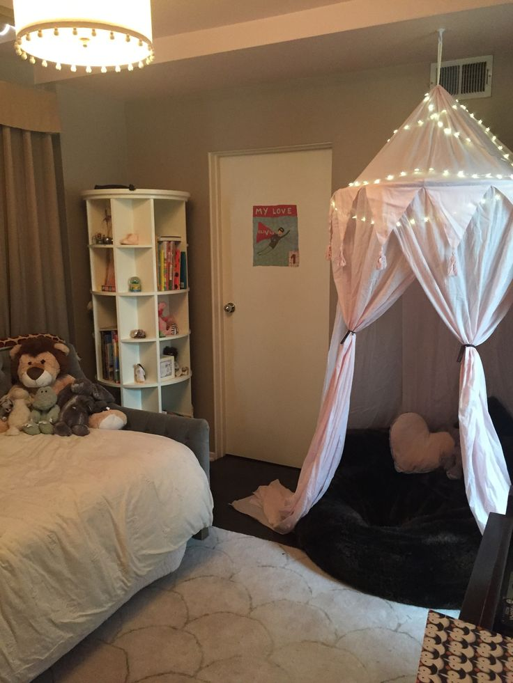 Restoration Hardware Baby And Child Canopy Reading Napping Nook With Star Twinkle Lights Furry