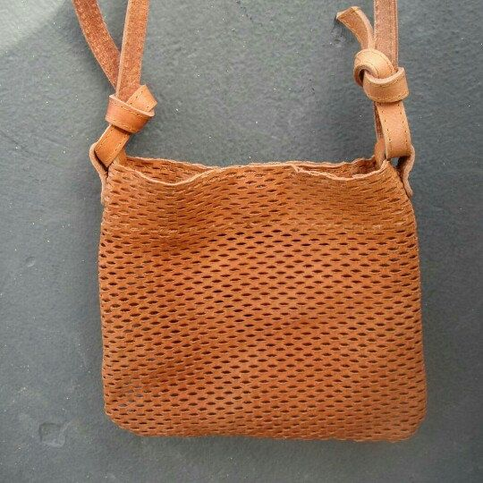 Leather mini tote in brown