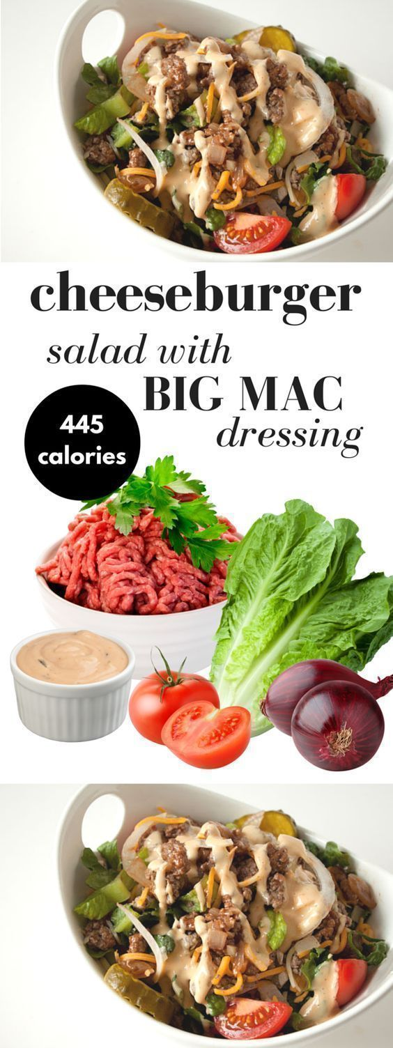 Cheeseburger salad recipe with big mac dressing! If you love Big Macs but want something lighter and much healthier, you will love this salad recipe with homemade russian-style light dressing! Healthy comfort food