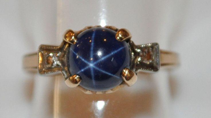 Antique 10K Gold Art Deco Single Cut Diamonds Blue Star Sapphire Ring Sz 6.25