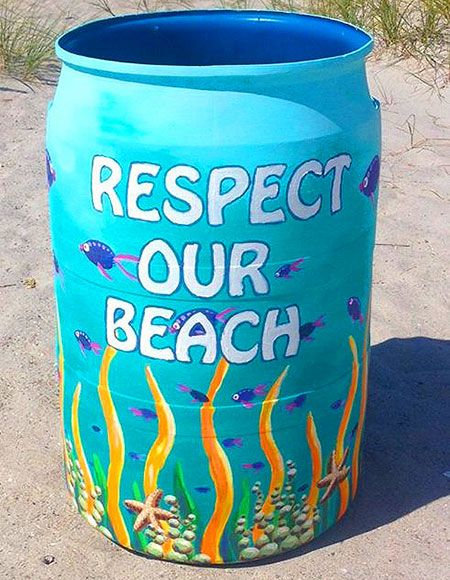 """Art Trash Cans on Cocoa Beach!   The amount of litter you find on the beach here on any given day is disturbing – and the problem is only getting worse.  Cocoa Beach resident Bobby Freeman, one of the people behind the Creative Cans in the Sand project, learned firsthand how bad that problem is at its roots while recently being interviewed by Channel 6 News about the initiative for their """"Making a Difference"""" series."""