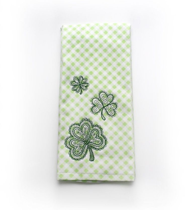 St. Patrick's Day Shamrocks Terry Hand Towel-Gingham