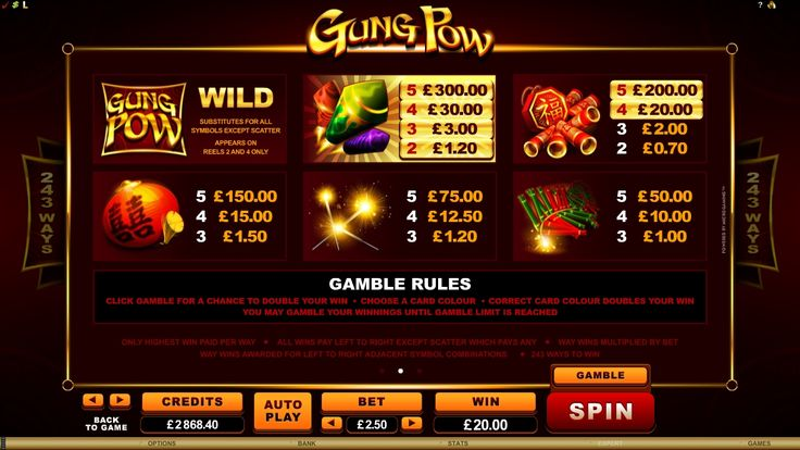 Log in to #play Gung Pow online slot - http://www.royalvegascasino.com/casino-games/slots/video-slots/