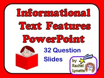 Your students will be experts on text features by the time you finish these 32 multiple choice question slides! $