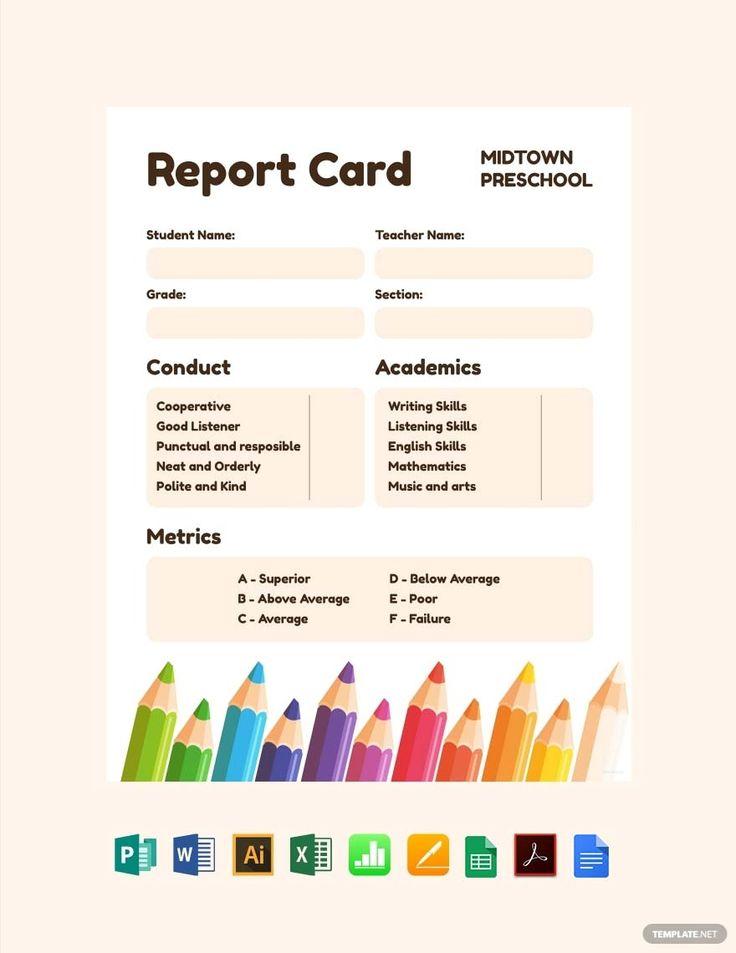 Free preschool progress report card template pdf word