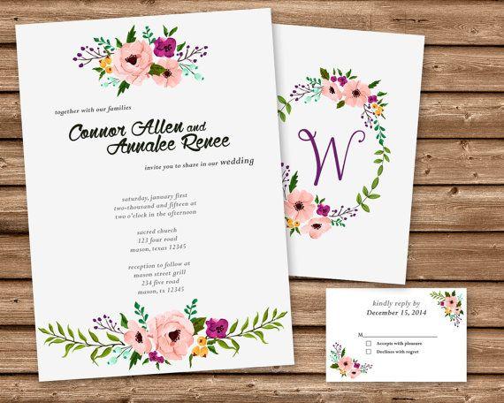 Watercolor Wedding Invitation  Vintage by PartyPrintExpress