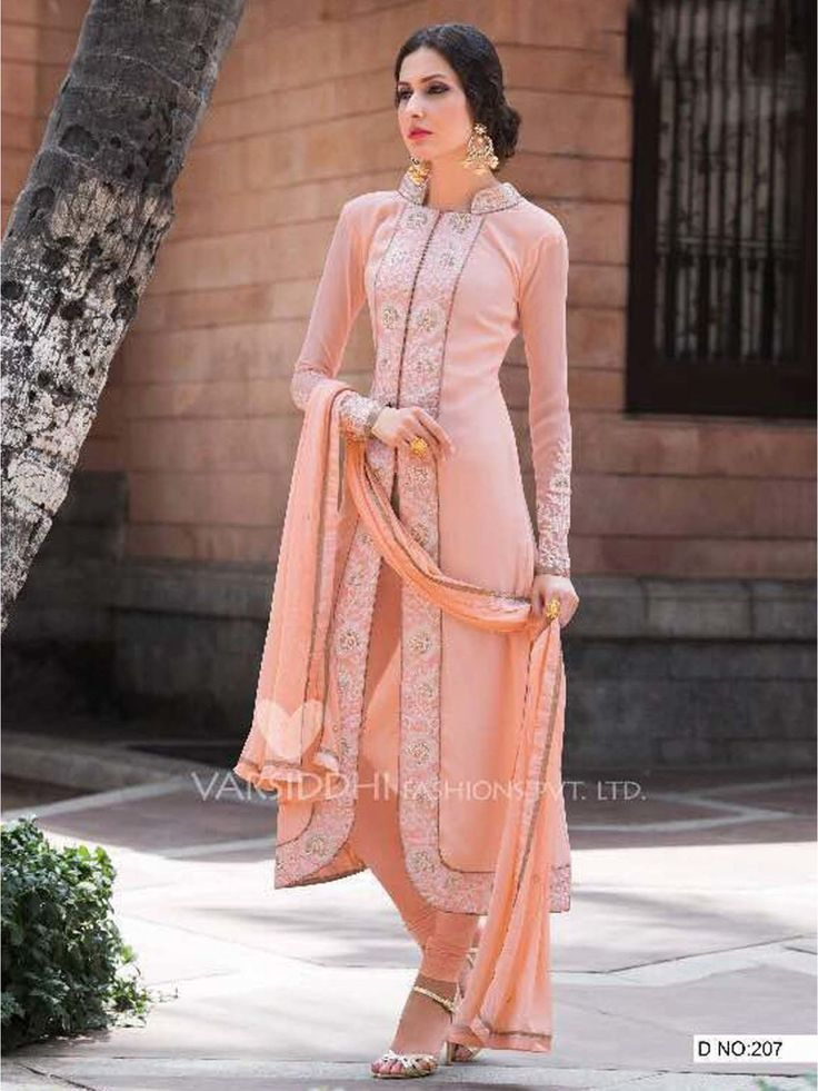 Shop Online Peach Georgette Embroidery Designer Salwar Kameez at Low Rate
