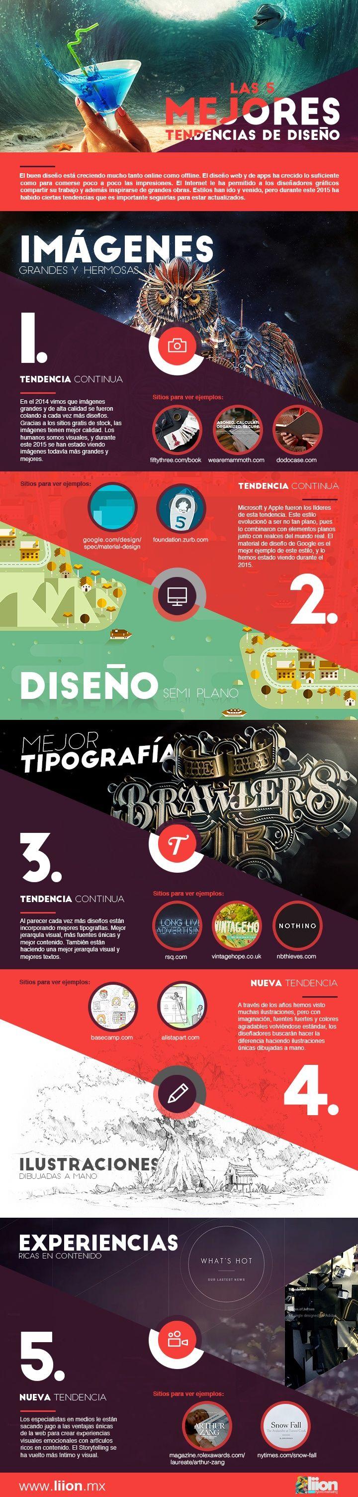 Hola: Una infografía con las 5 mejores tendencias de Diseño. Vía Un saludo