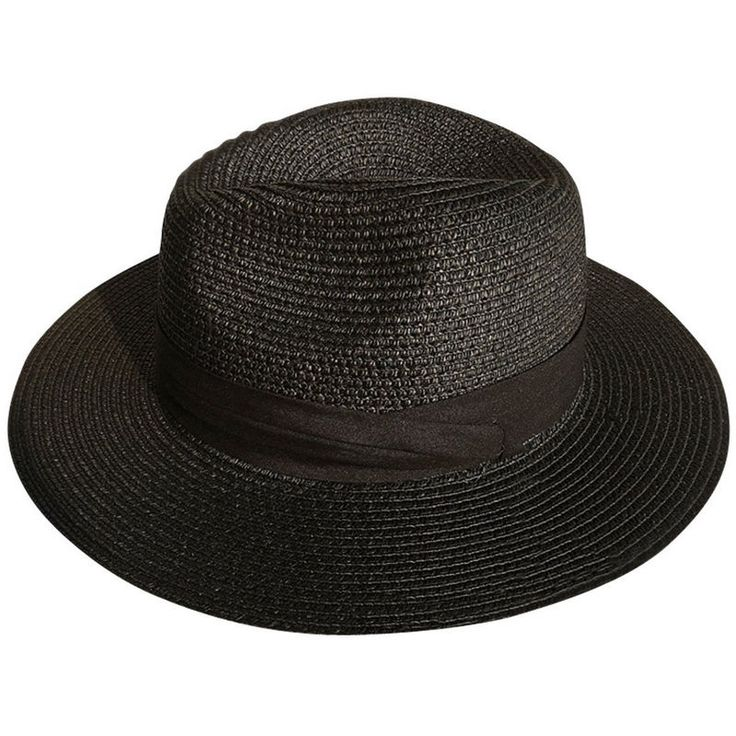 Ladies Black Floppy Summer Sun Visor Straw Panama Hat