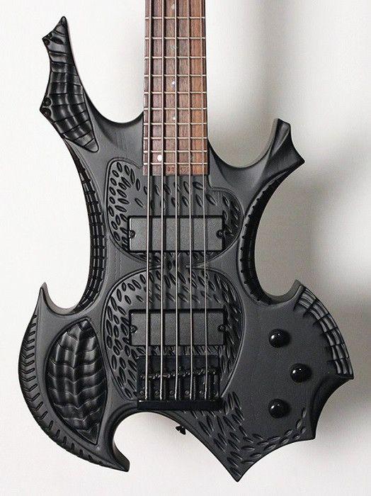 Halo Custom Guitars GVK 5 String Hand Carved Bass Transparent Black