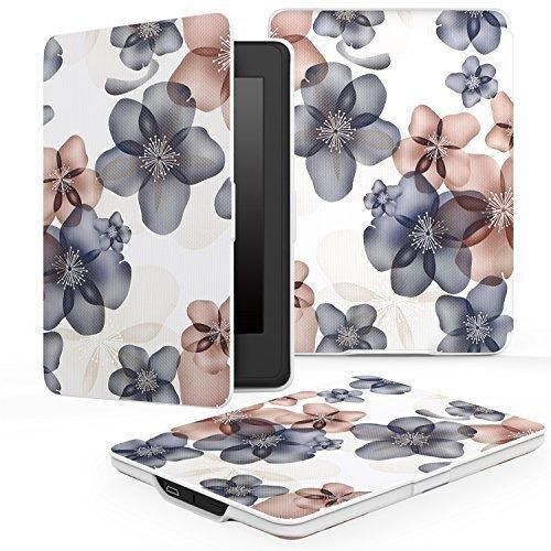 MoKo Case for Kindle Paperwhite Premium Thinnest and Lightest PU Leather Cover with Auto Wake / Sleep for Amazon All-New Kindle Paperwhite (Fits 2012 2013 2015 and 2016 Versions) Floral INDIGO
