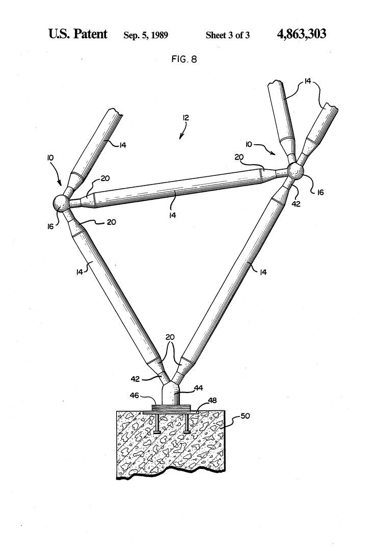 Structural Joint Members For Space Frame System Us 4863303